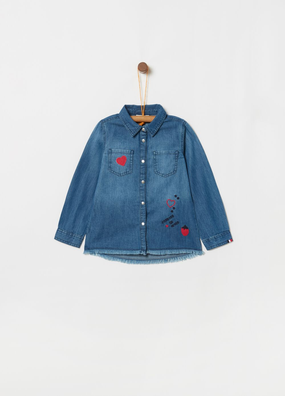 Denim shirt with fringed hem