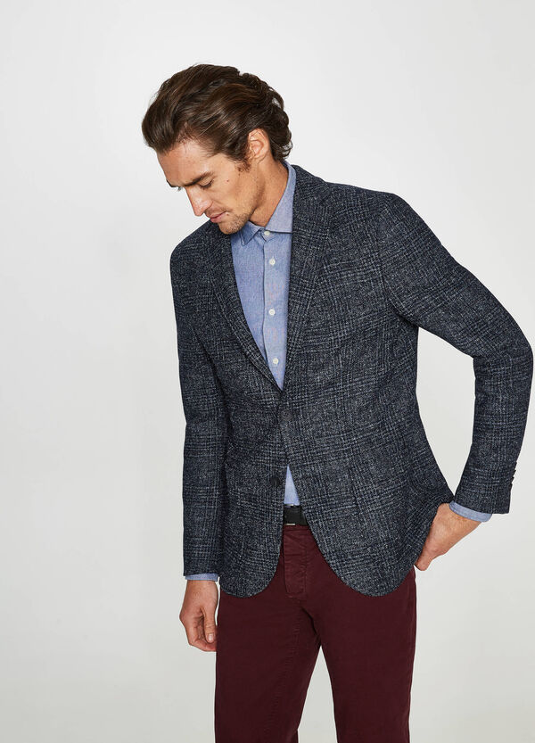 Rumford check jacket with two-button fastening