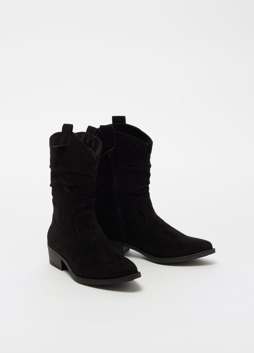 Velvet-effect ankle boots with chunky heels