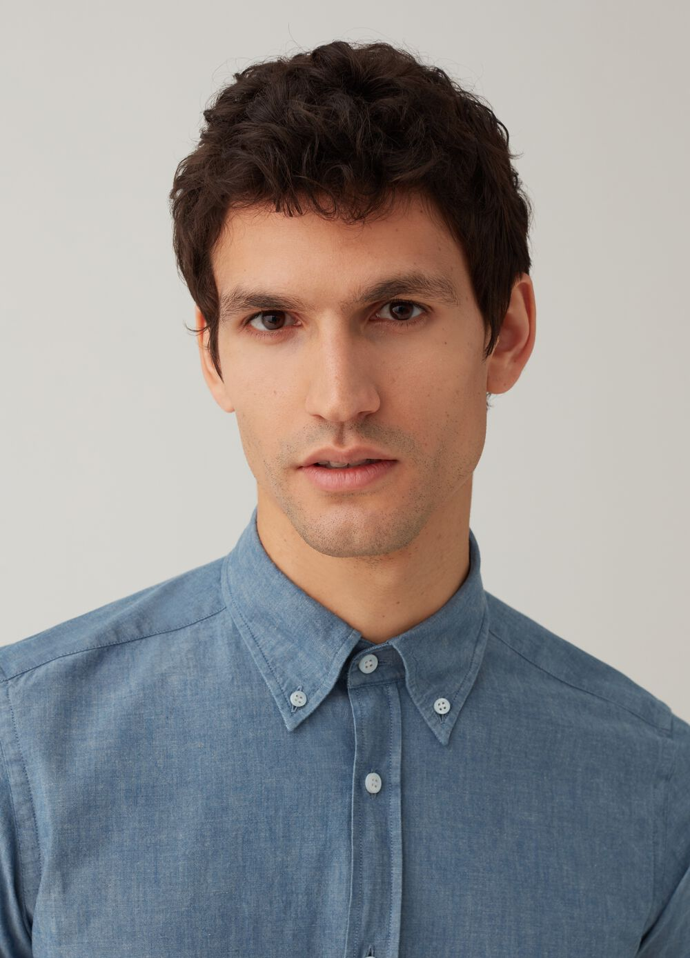 Rumford cotton shirt with button-down collar