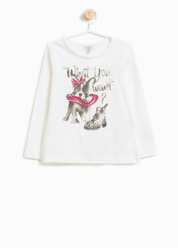 T-shirt in 100% cotton with glitter print