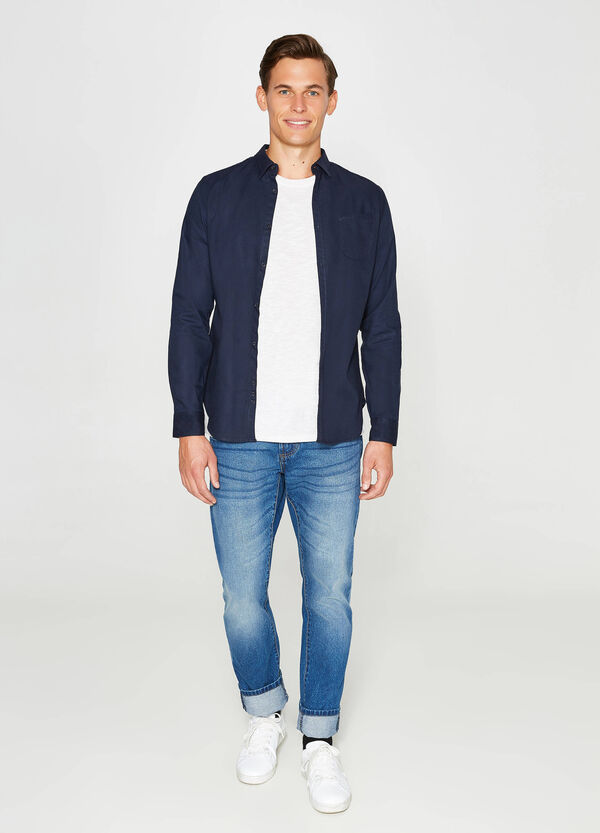 Solid colour casual shirt with small pocket | OVS