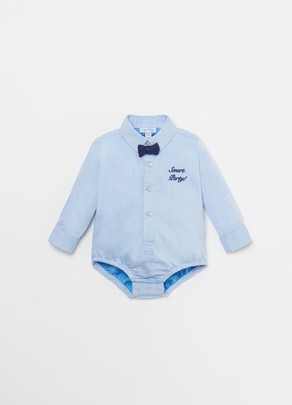 Oxford bodysuit shirt with embroidery and opening
