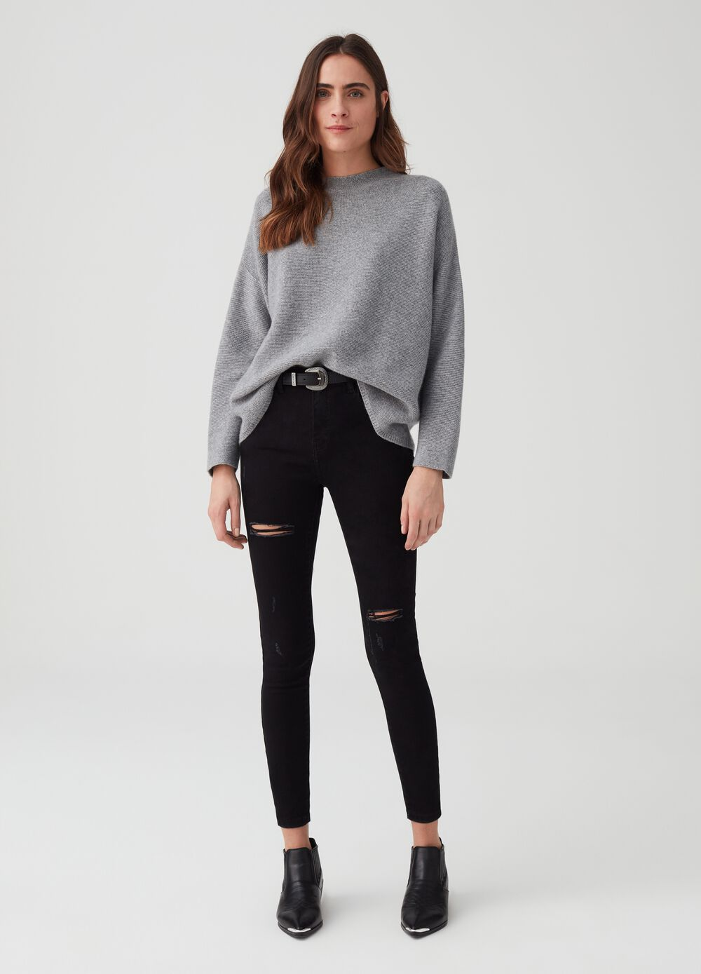 Solid colour super skinny-fit jeans with rips