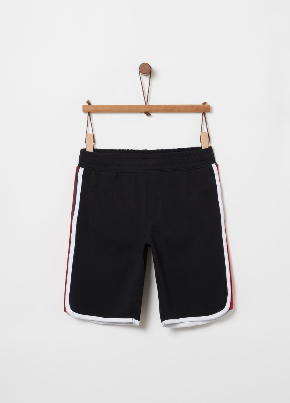 100% cotton shorts with striped inserts