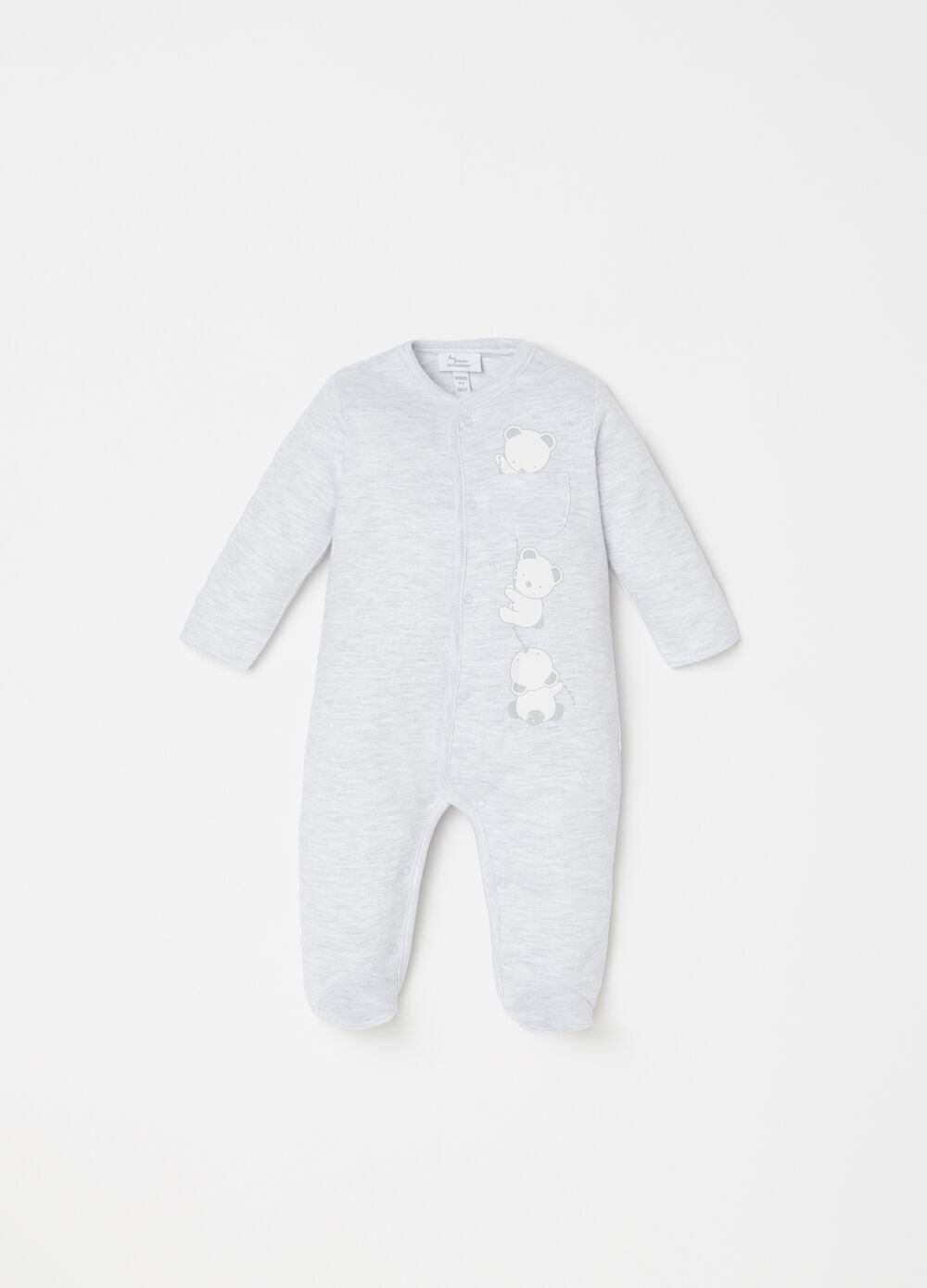 100% cotton mélange onesie with feet