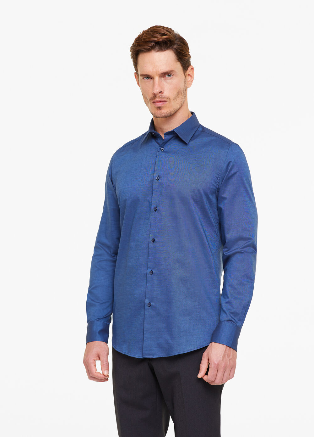 Slim-fit micro-weave shirt
