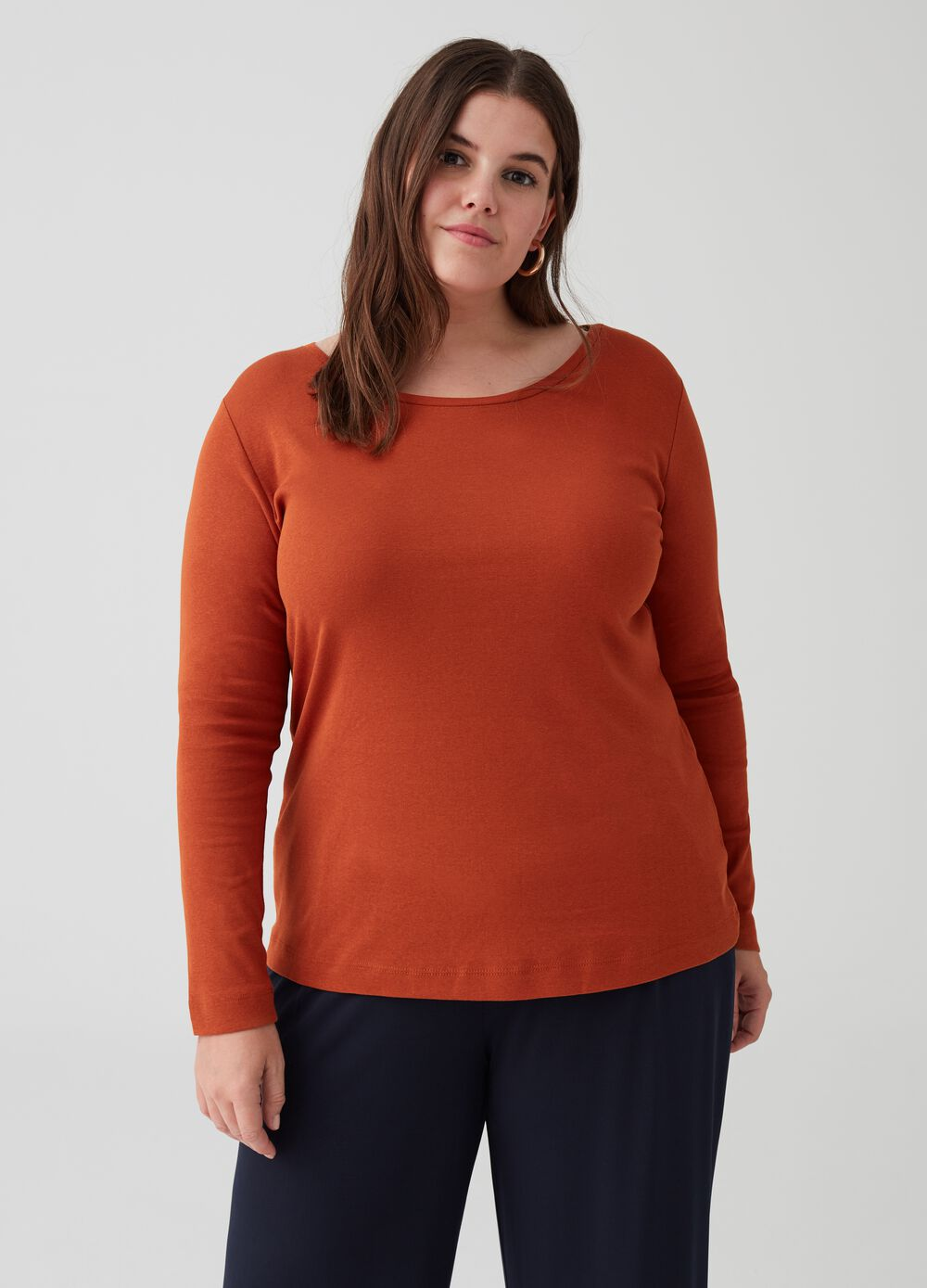 Curvy ribbed T-shirt in 100% cotton