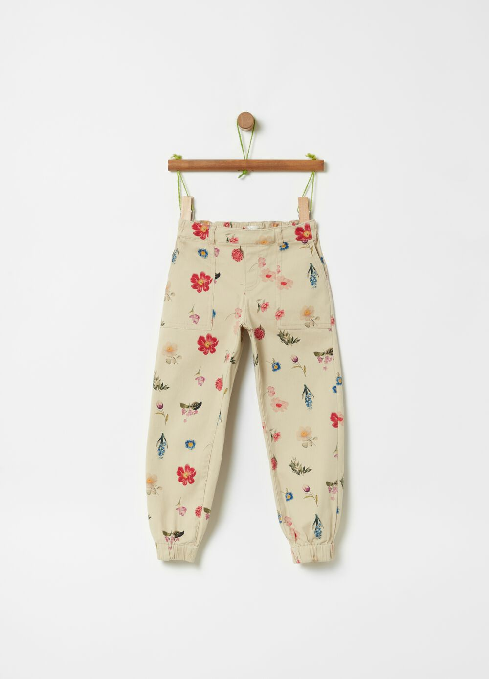 Organic cotton trousers with floral pattern
