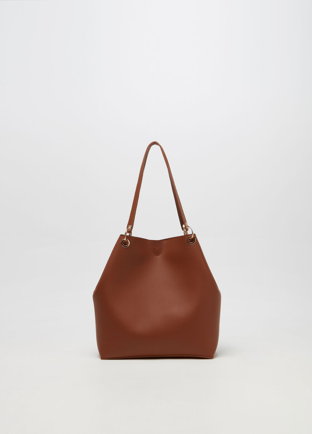 Leather-look tote bag with contrasting fastening