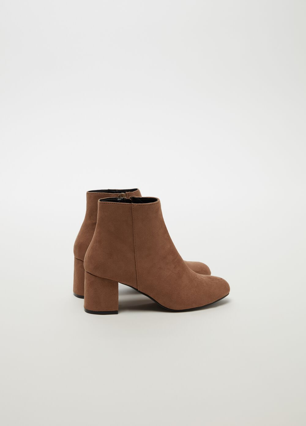 Suede-effect ankle boots with zip