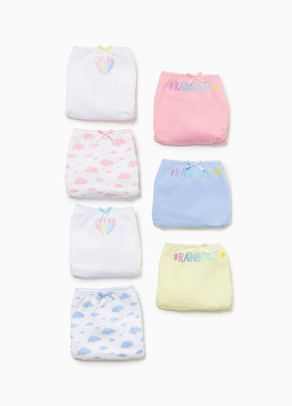 Seven-pack solid colour and clouds cotton briefs