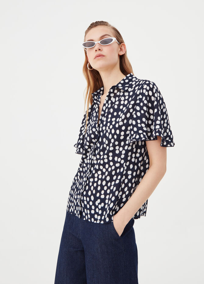 Short-sleeved crêpe blouse with ruches