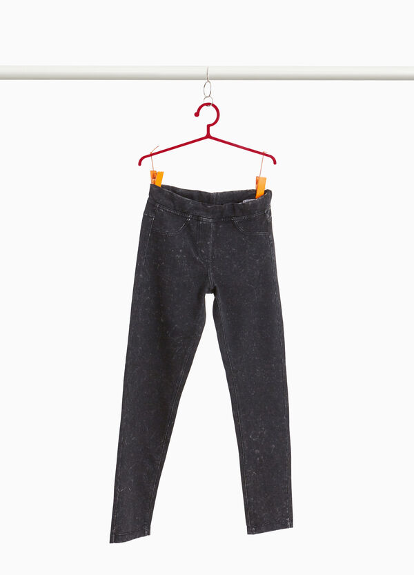 Misdyed-effect stretch jeggings