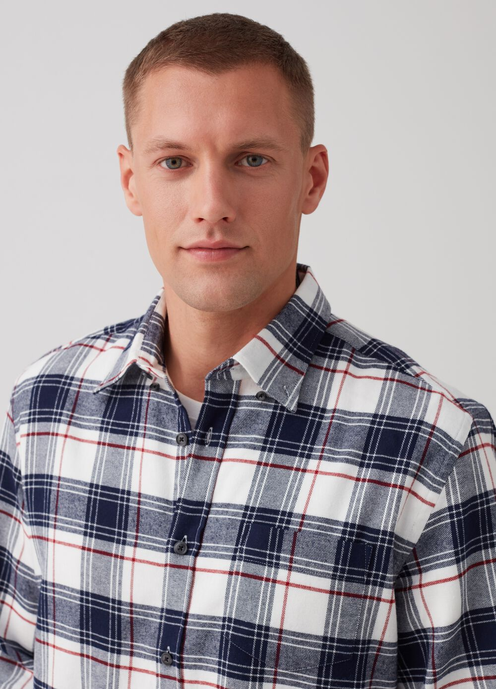 Regular-fit shirt with check collar