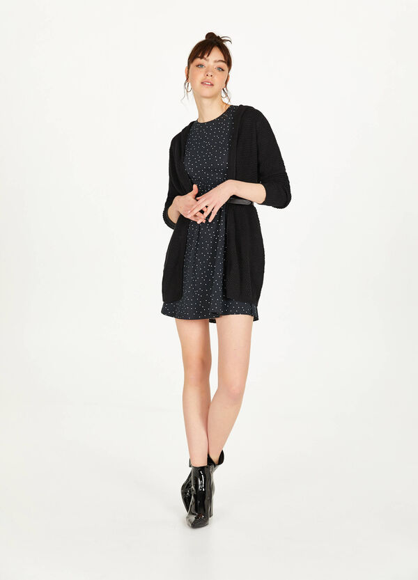 Stretch cotton dress with pleats