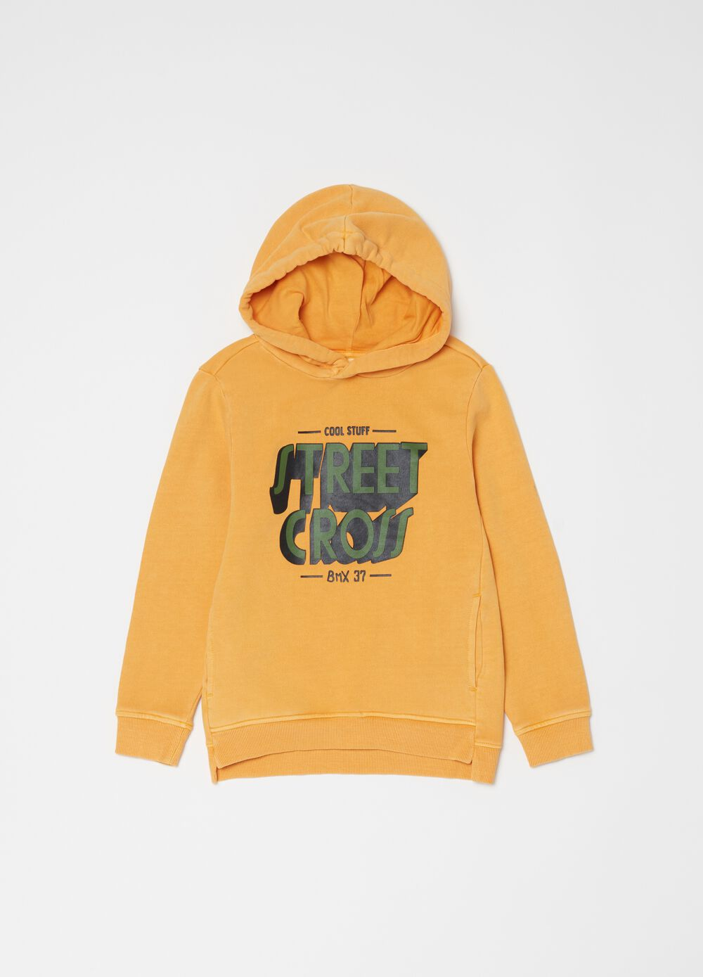 100% cotton sweatshirt with hood and print