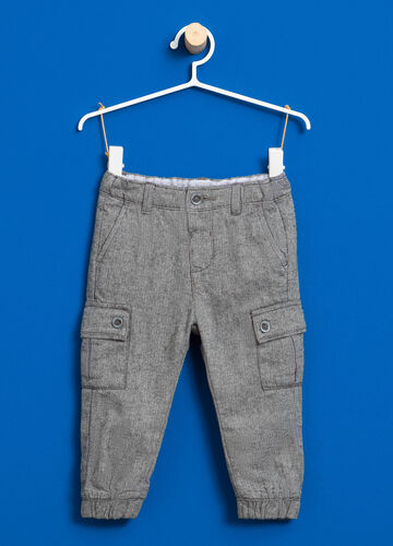 Cotton cargo trousers with micro pattern