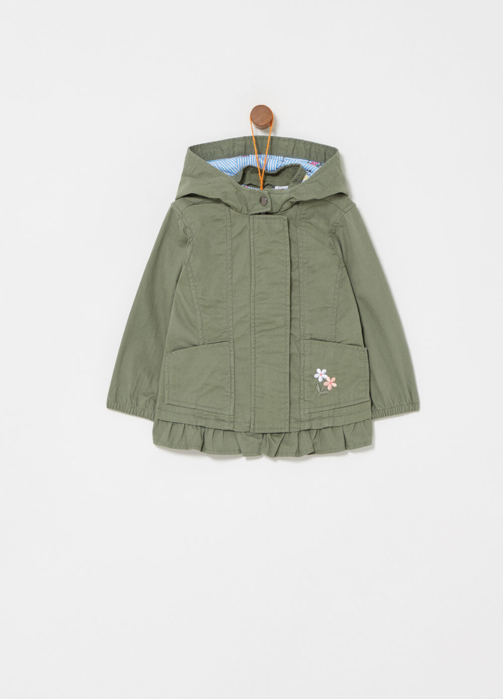 Twill parka with pockets and floral embroidery