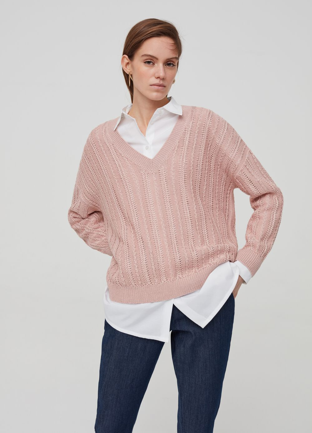Top with knitted lurex