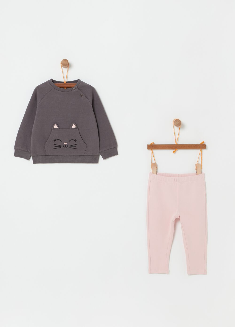 Jogging set with sweatshirt and trousers with kitten