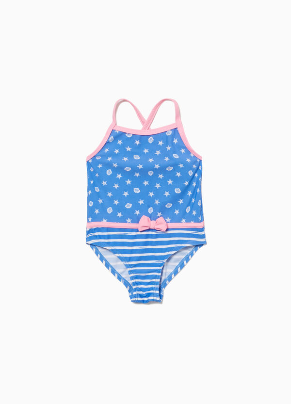 One-piece stretch swimsuit with striped bow