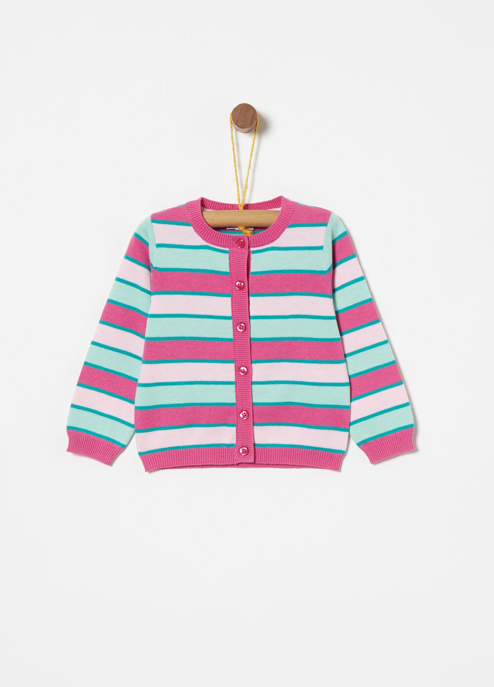 Multi-coloured cardigan in 100% cotton