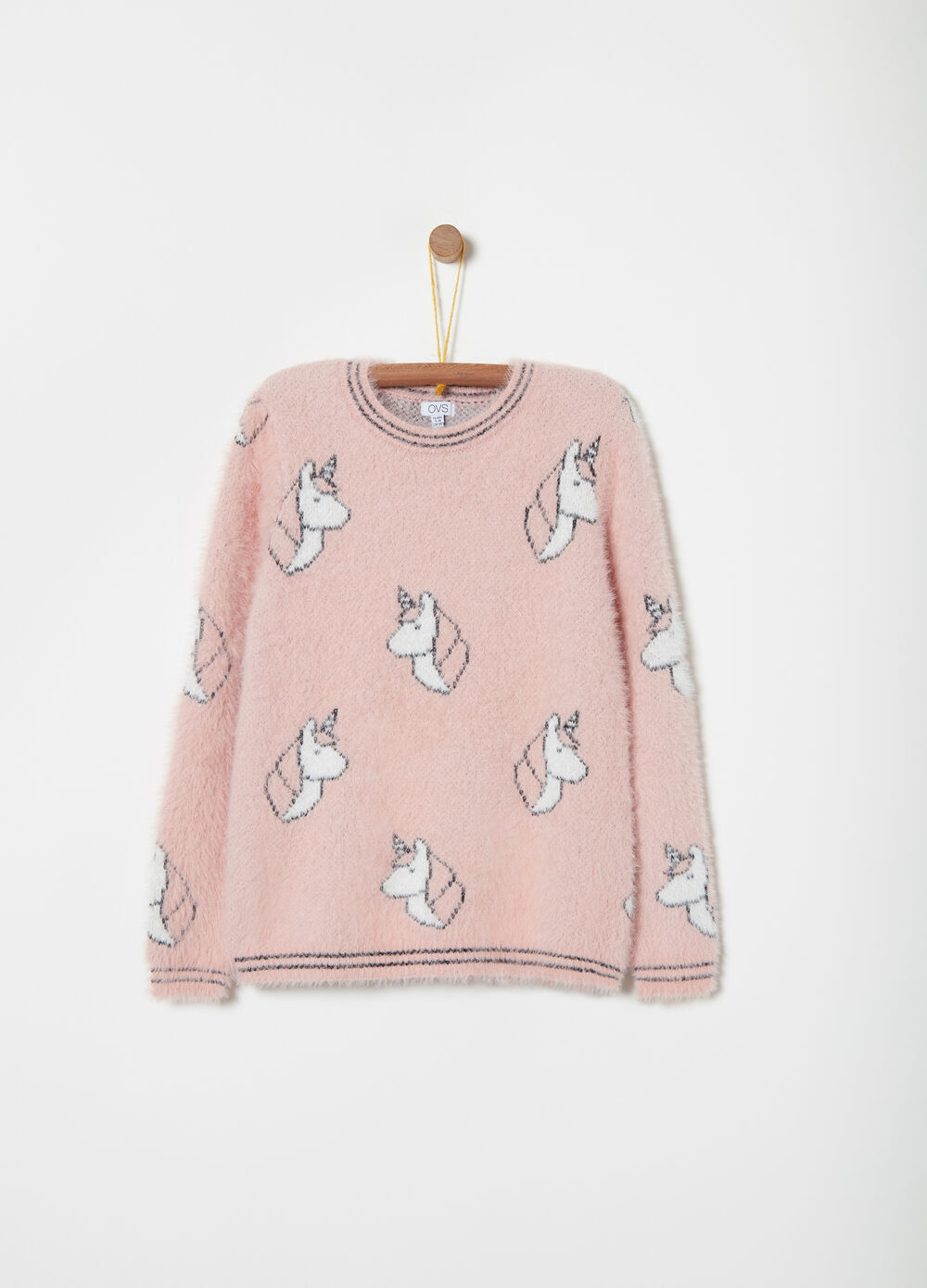 Pullover girocollo in filo furry fantasia