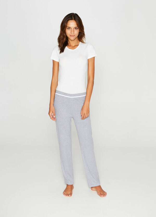 Cotton pyjama trousers with piping | OVS