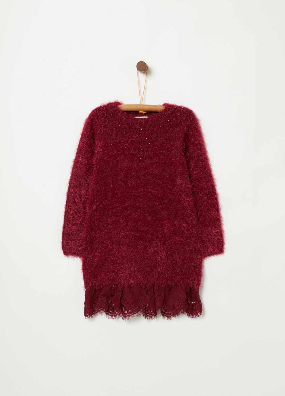 Faux fur-effect dress with beads