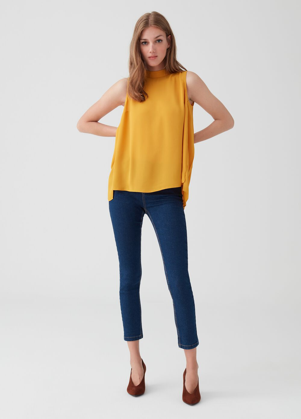 Jeans skinny fit crop stretch cinque tasche