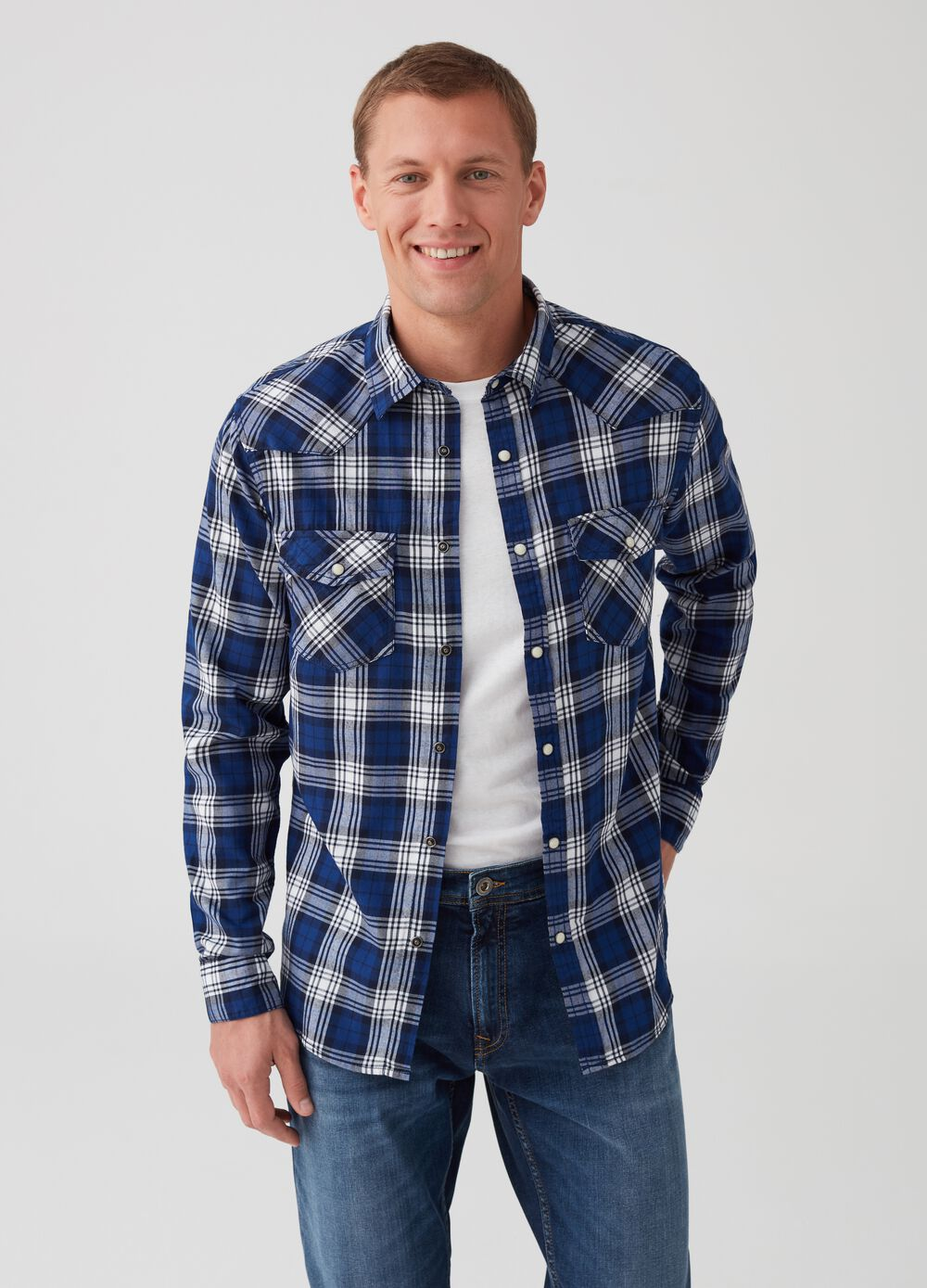 Slim-fit Western-style check shirt