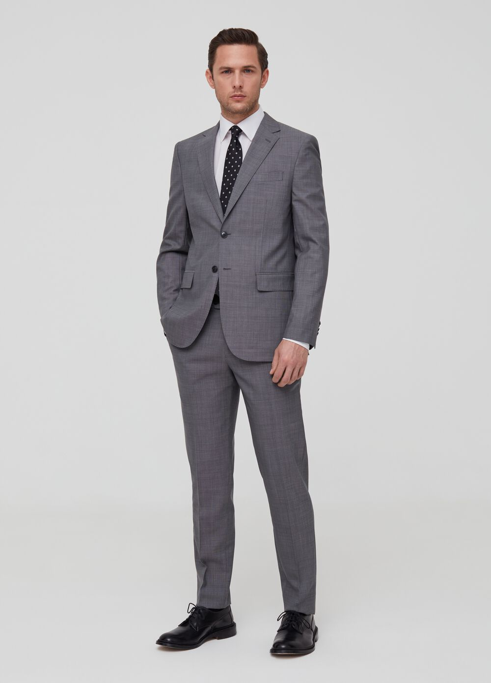 Regular-fit check suit in 100% wool