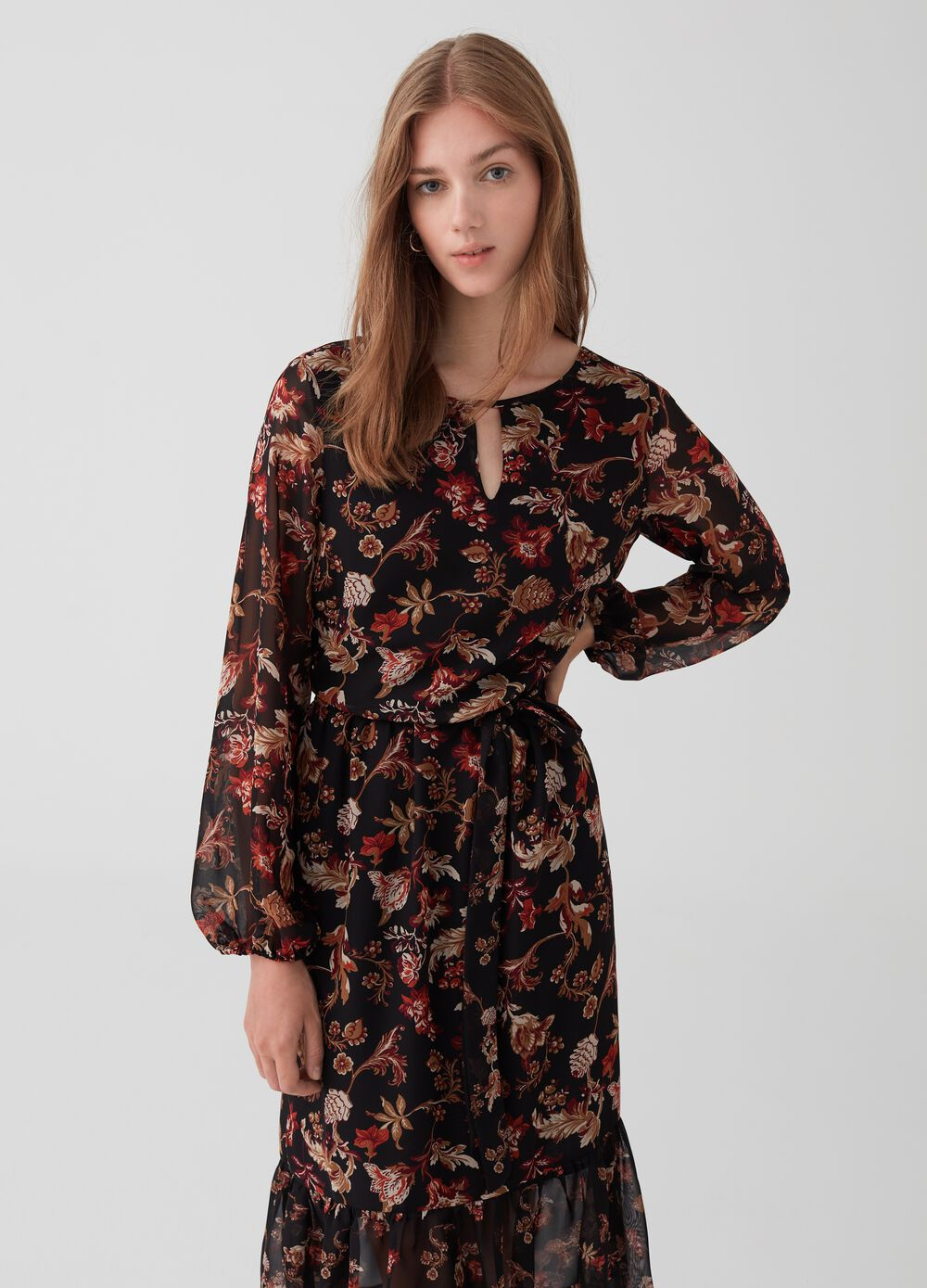 Floral dress with flounce