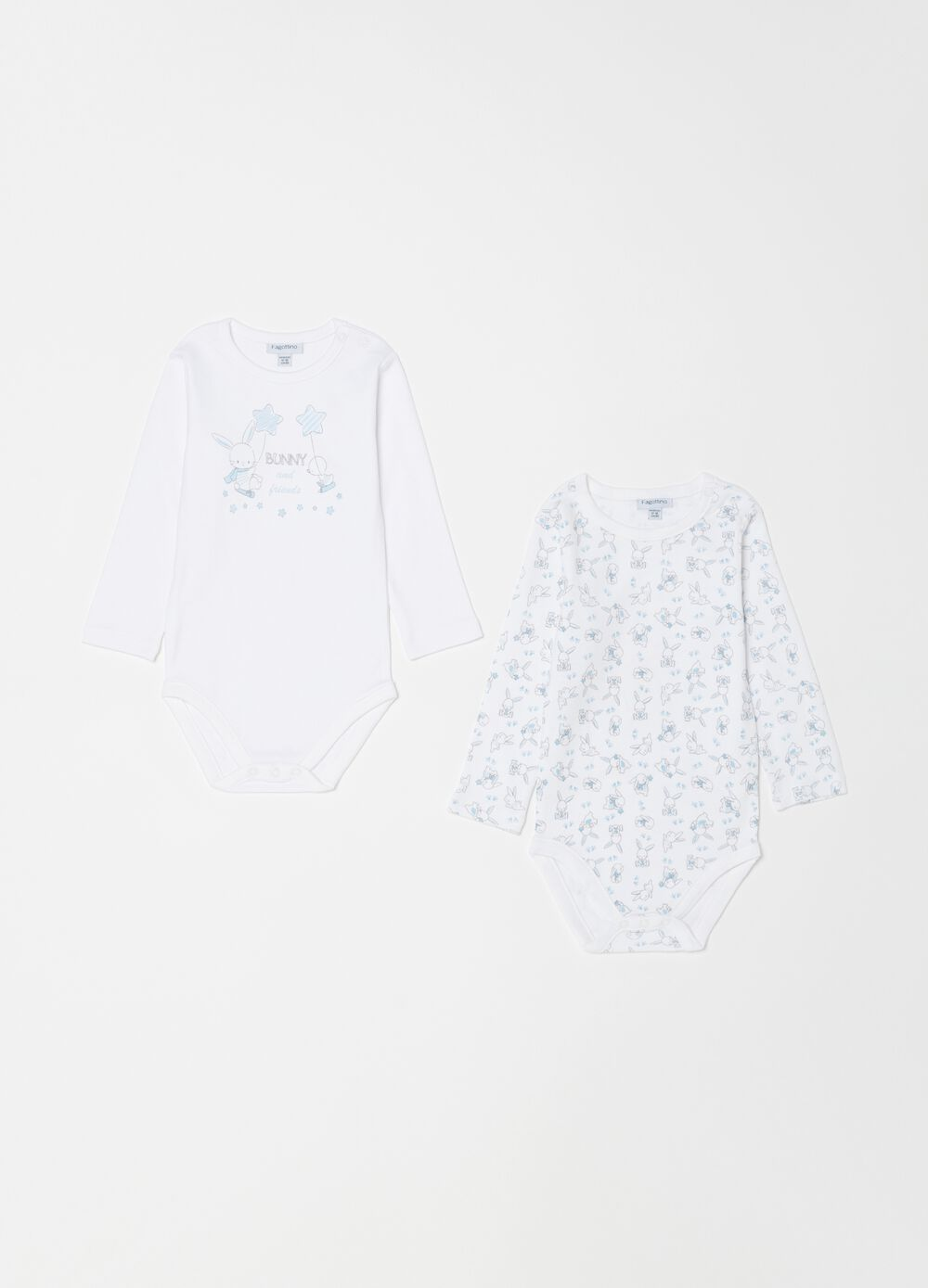 Two-pack rabbit bodysuits in 100% organic cotton