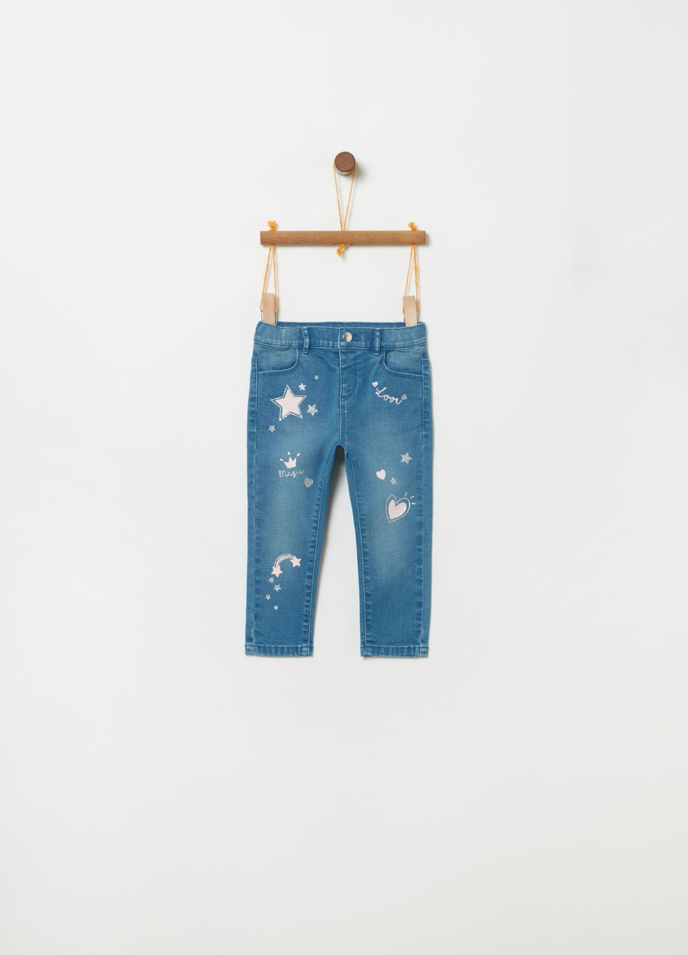 Slim-fit stretch jeans with glitter print