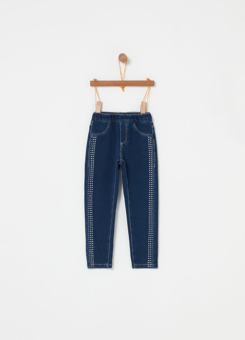 French terry denim-effect trousers