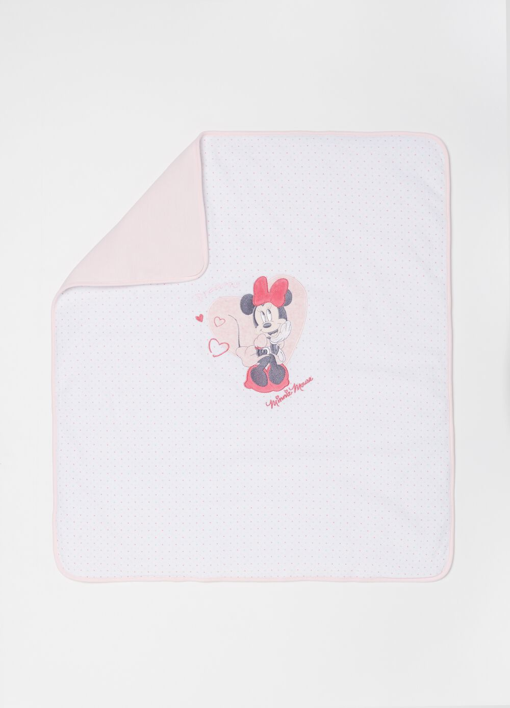 Blanket with Disney Minnie Mouse embroidery and polka dots