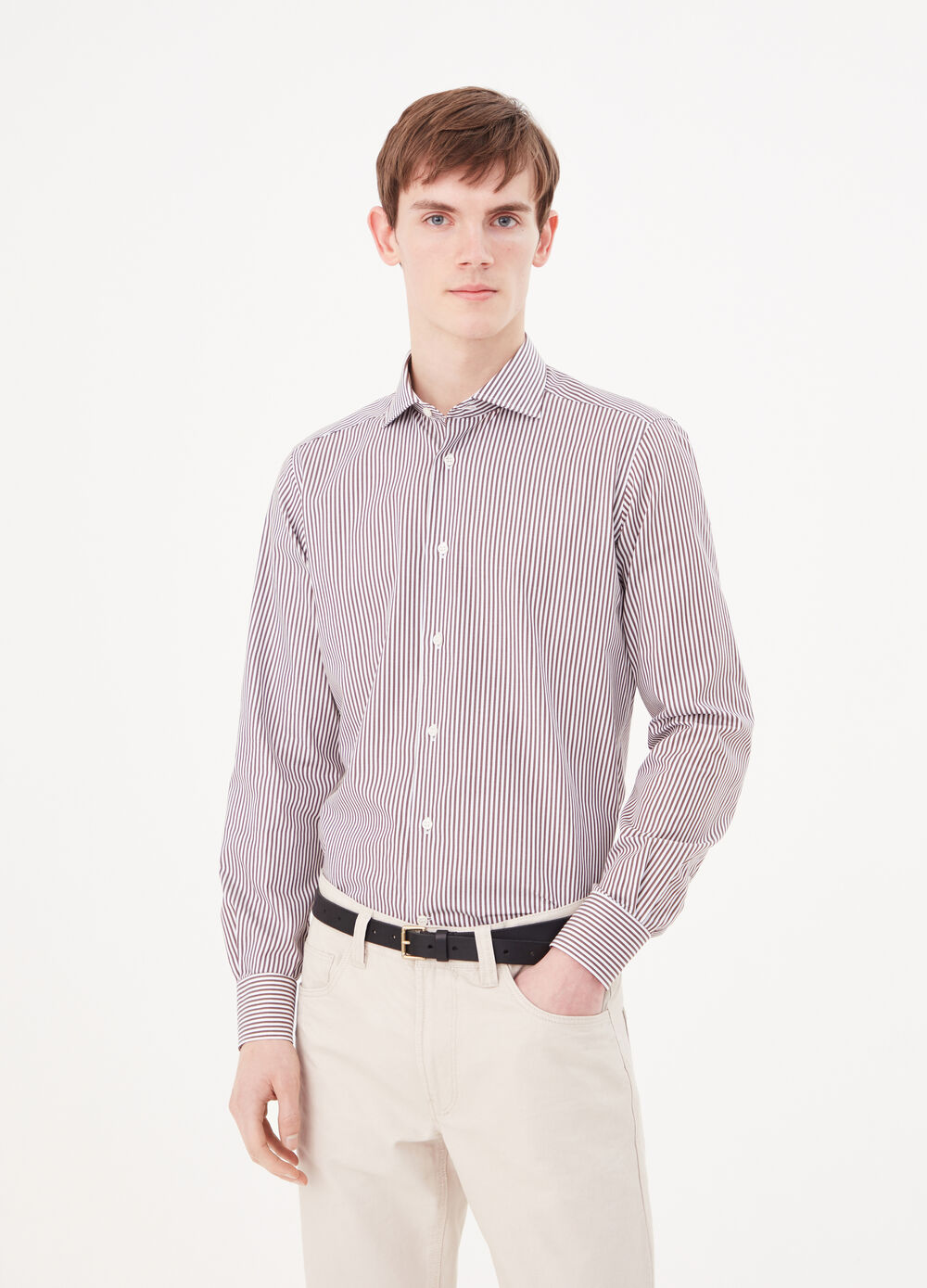 Slim-fit shirt in striped twill