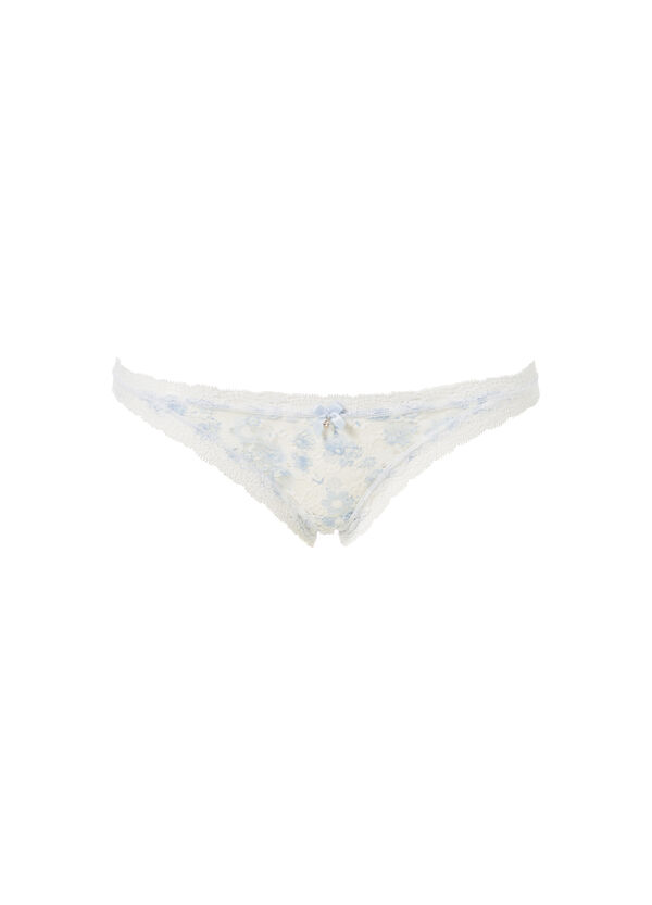 Stretch microfibre tanga brief with lace | OVS