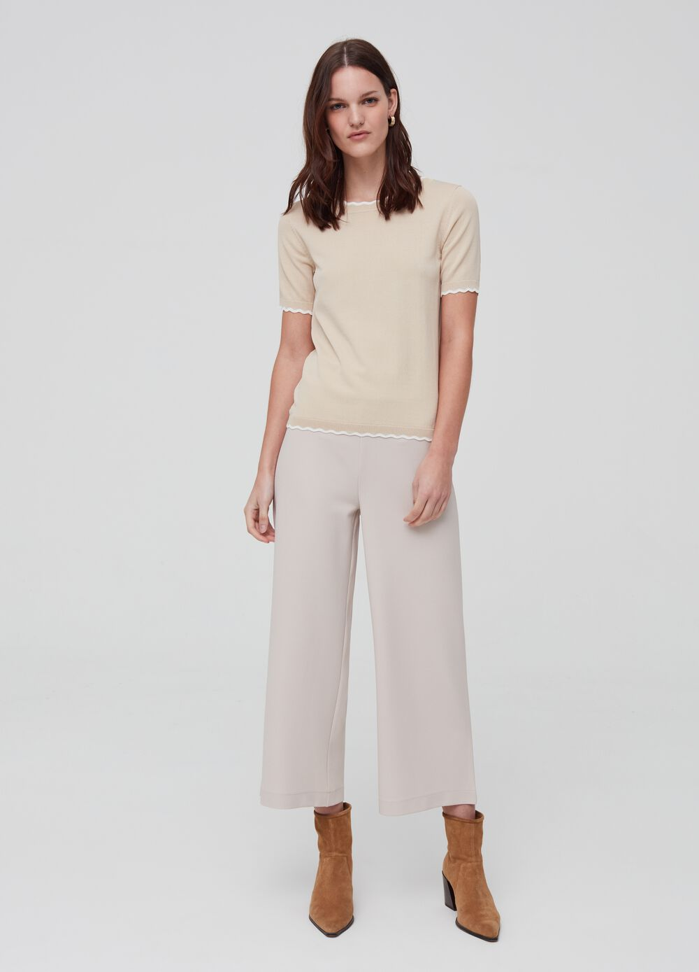 Solid colour culotte trousers
