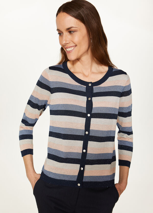 Viscose blend cardigan with lurex