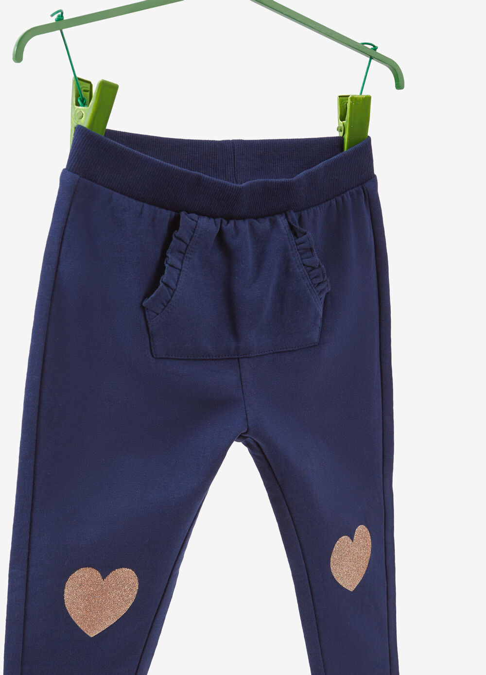 Joggers with glitter hearts print