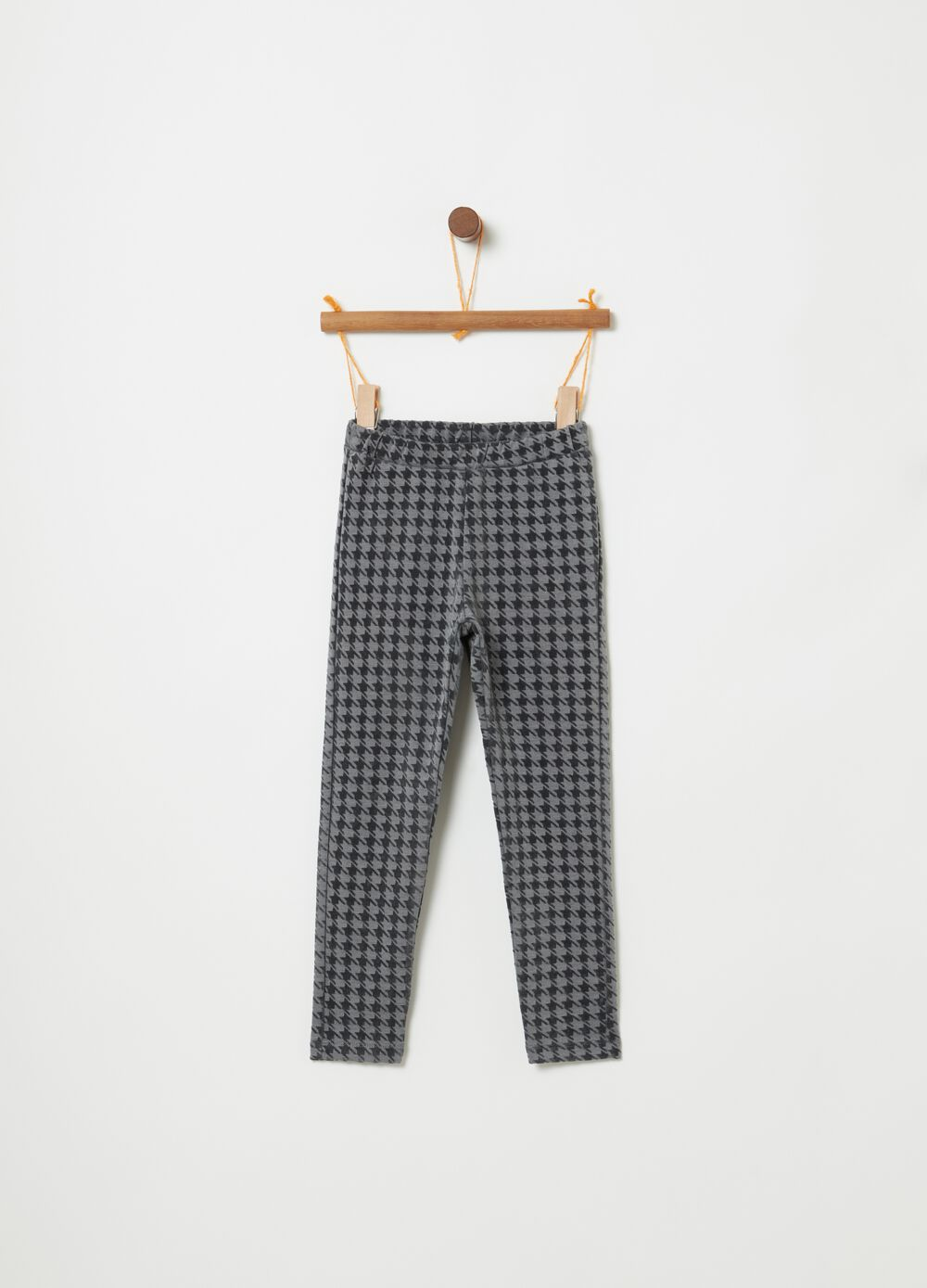 Stretch leggings with hounds' tooth print