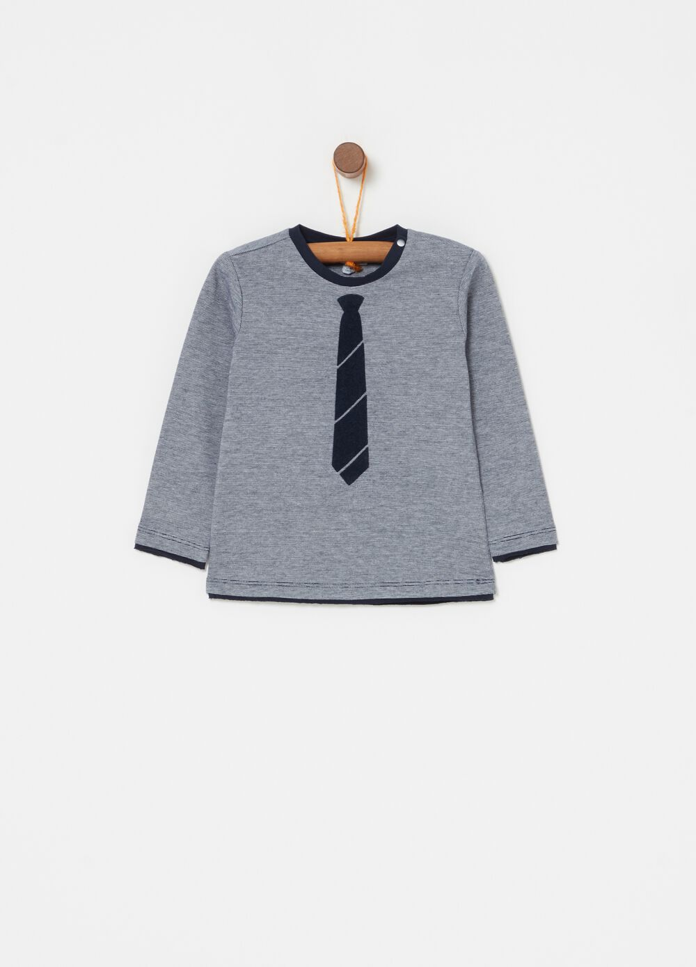 Long-sleeved biocotton T-shirt with stripes