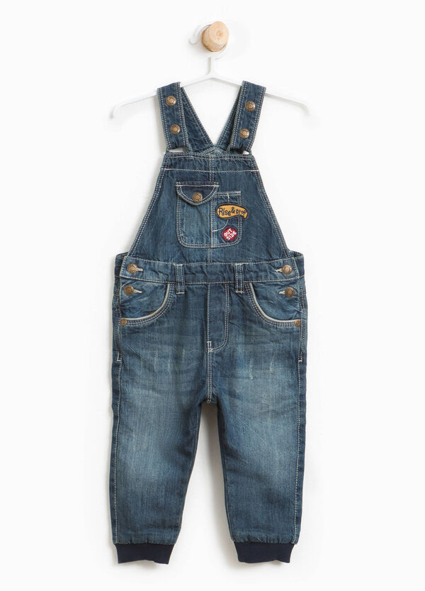 Worn-effect denim dungarees with patches | OVS