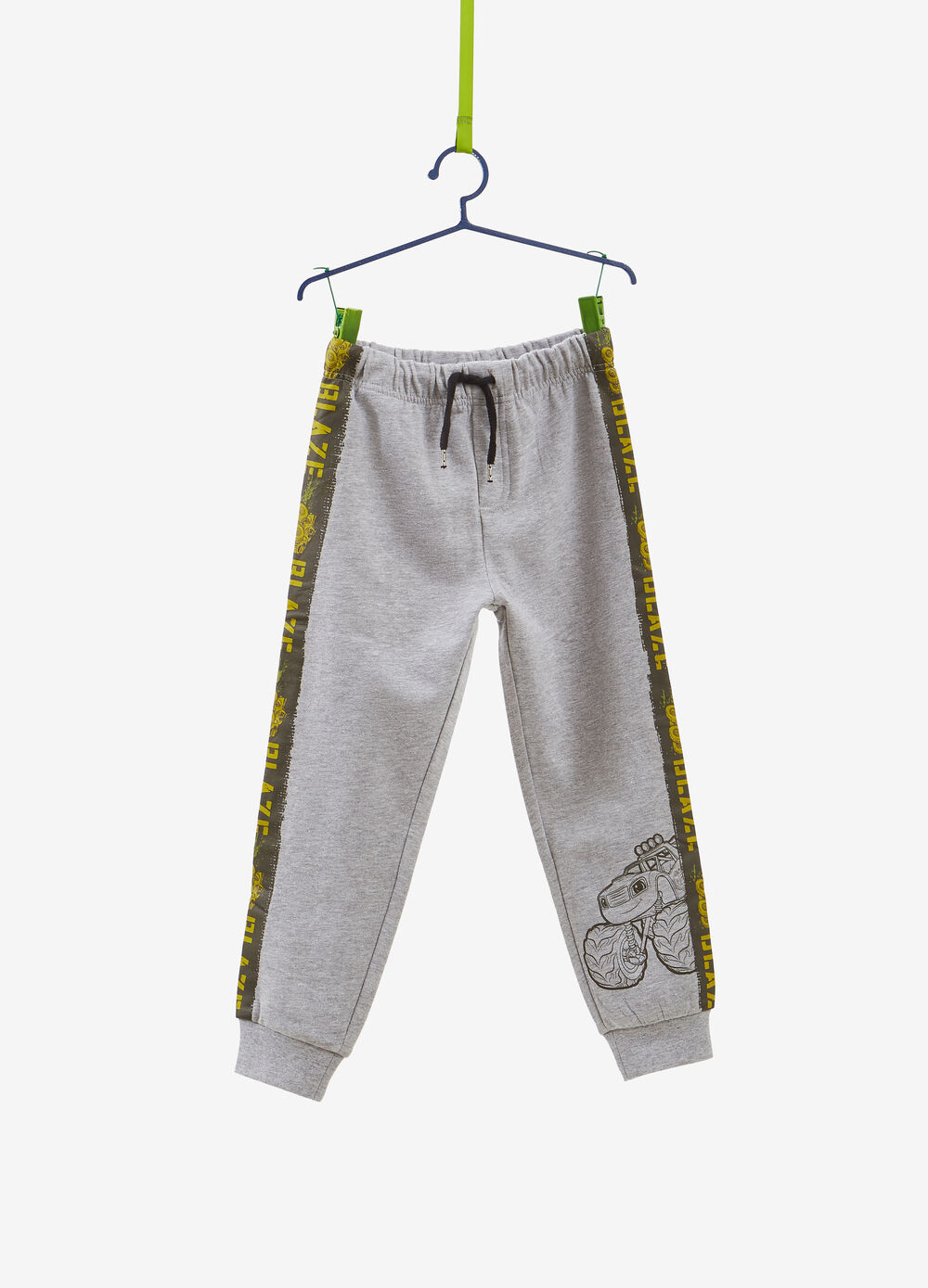 Trousers with side bands and Cars print
