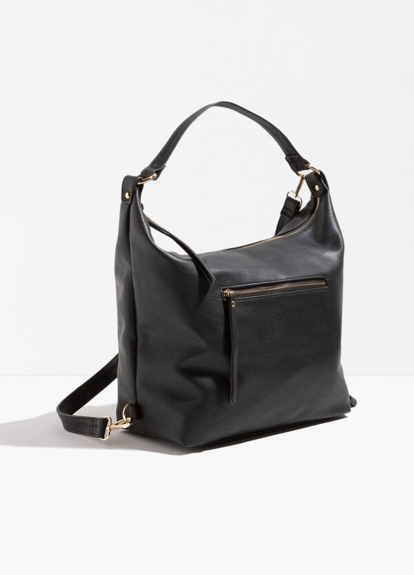 Textured-effect shoulder bag with zip | OVS