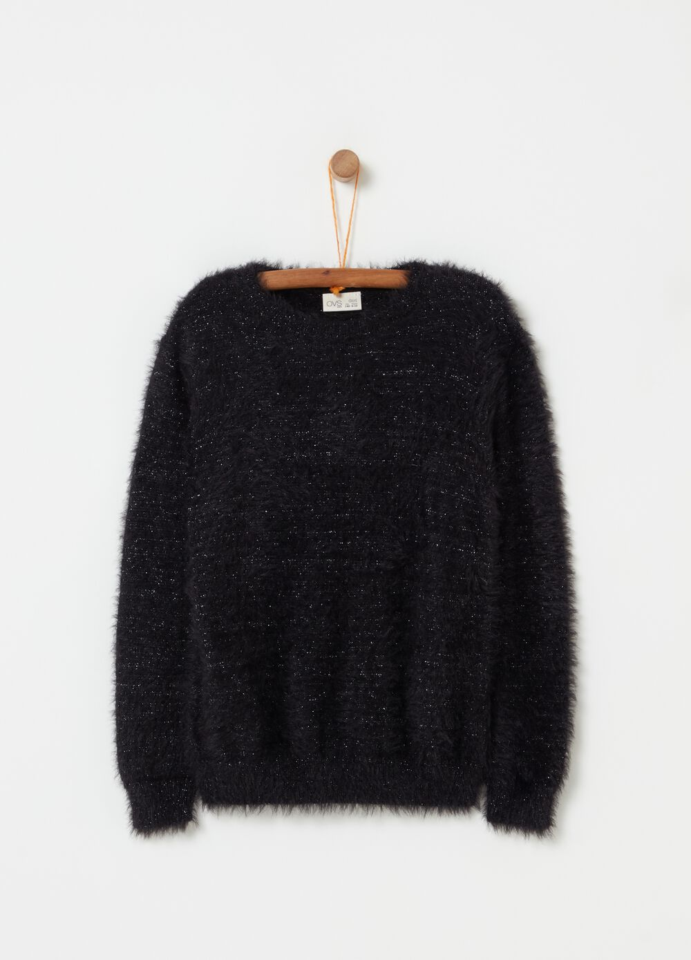 Faux fur pullover with lurex