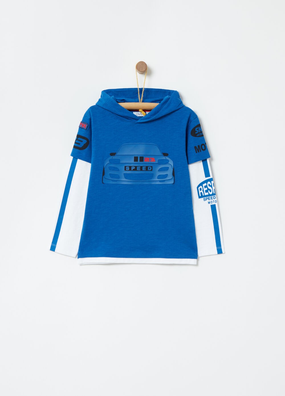 T-shirt with decorated double sleeves
